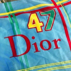 Auth. Dior Rare Vintage Rasta Blue Scarf / Wrap